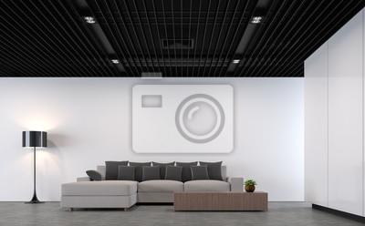 Moderne Loft Wohnzimmer Mit Schwarzem Stahl Decke 3d Rendering