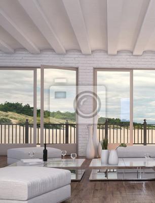 Fototapete Moderne Loft Wohnzimmer Mit Weißen Couch Und Meerblickansicht