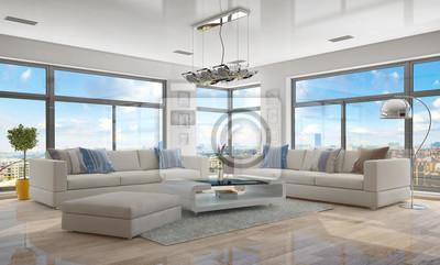 Fototapete Moderne, Luxuriöse Penthouse Wohnung Mit Einem Wohnzimmer.