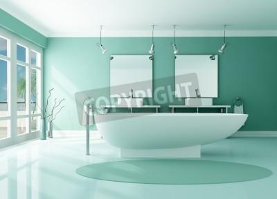 Fototapete: Moderne luxus-badezimmer mit mode badewanne und  doppel-waschbecken-rendering