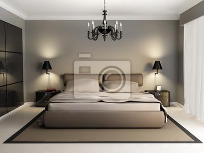 Moderne luxus-elegantes schlafzimmer interieur, kronleuchter ...