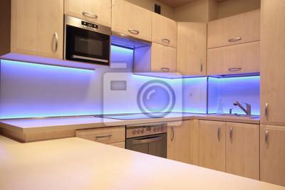 Moderne Luxus Kuche Mit Lila Led Beleuchtung Fototapete