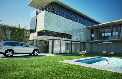 Moderne luxusvilla mit pool  Moderne luxusvilla mit pool sehr stilvolle architektur aus beton ...