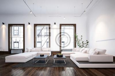 Moderne Minimalistische Designer Wohnzimmer Innenraum Fototapete