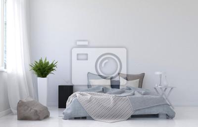 Moderne minimalistische weiße schlafzimmer innenraum fototapete ...