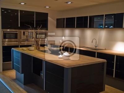 Moderne modische design schwarz küche aus holz fototapete ...