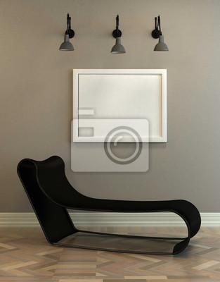 Fototapete Moderne Modulare Tagesbett Und Leere Bilderrahmen