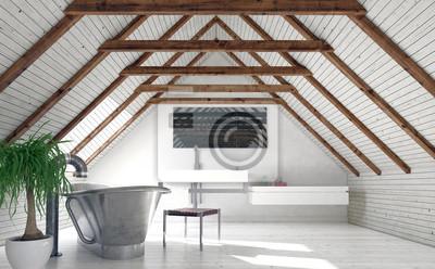 Fototapete Moderne Monochromatische Weisse Dachboden Badezimmer