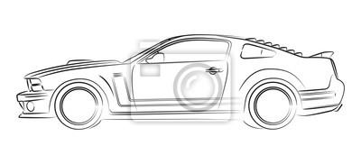 Moderne Muscle Car Zeichnung Fototapete Fototapeten Mustang Auto