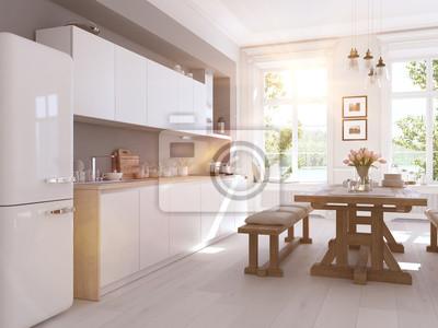 Moderne Nordic Kuche Im Loft Wohnung 3d Darstellung Fototapete