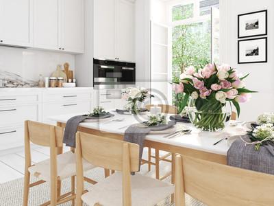Moderne Nordische Kuche In Loft Wohnung 3d Rendering Fototapete