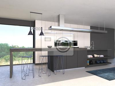 Moderne offene küche fototapete • fototapeten Zufall, Schemel ...