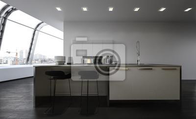 Moderne offene küche mit mittelinsel fototapete • fototapeten ...