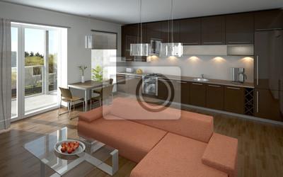 Moderne Offene Kuche Und Wohnzimmer Fototapete Fototapeten