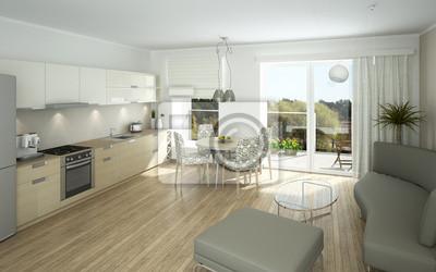 Moderne offene küche und wohnzimmer fototapete • fototapeten ...