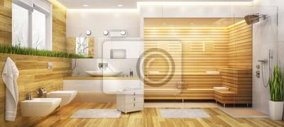 Moderne sauna und ein badezimmer fototapete • fototapeten privies ...