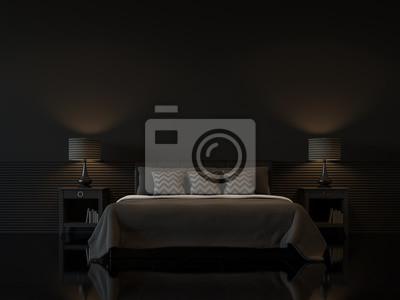 Moderne schlafzimmer interieur mit leeren schwarzen wand d