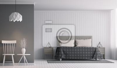 Moderne Schlafzimmer Interieur Mit Schwarz Weiss 3d Rendering