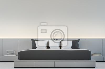 Moderne schlafzimmer interieur mit schwarz-weiß-3d-rendering ...