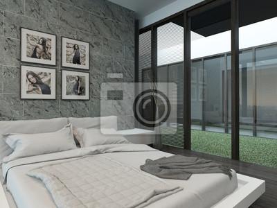 fototapete moderne schlafzimmer interieur mit steinmauer