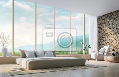Moderne schlafzimmer mit blick auf die berge 3d-rendering ...