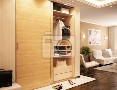 Schrank Wohnzimmer | Moderne Schrank Im Wohnzimmer Fototapete Fototapeten Innenraume
