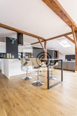 Moderne schwarz-weiß-küche fototapete • fototapeten appartment ...