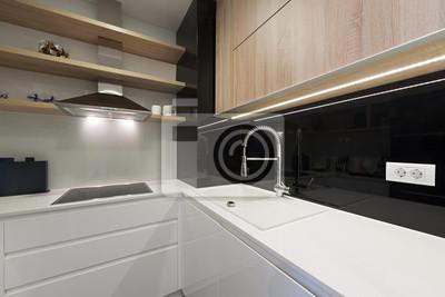 Fototapete: Moderne schwarz-weiß-küche innenarchitektur