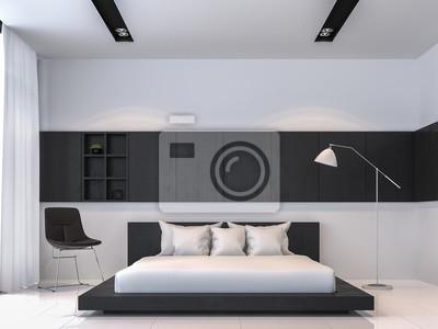 Fototapete: Moderne schwarz-weiß-schlafzimmer innenraum minimal stil  3d-rendering