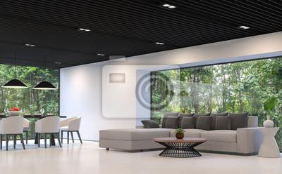 Moderne Schwarz Weiss Wohnzimmer Und Esszimmer Mit Blick Auf Den