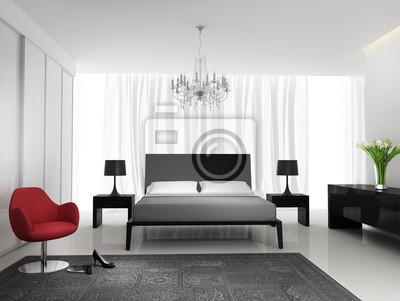 Moderne schwarze elegante weiße schlafzimmer mit teppich fototapete ...