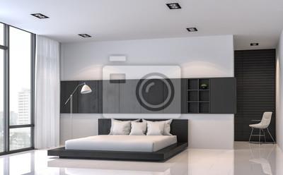 Moderne schwarze und weiße schlafzimmer innenraum minimal ...