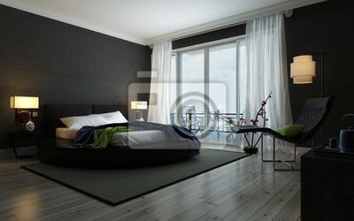 Moderne schwarze und weiße schlafzimmer interieur fototapete ...