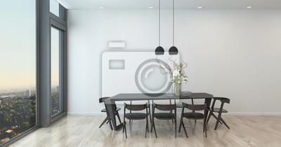 Fototapete Moderne Tabelle Und Stühle Im Spärlichen Esszimmer