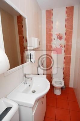 Moderne toilette interieur in weißen und roten farben ...