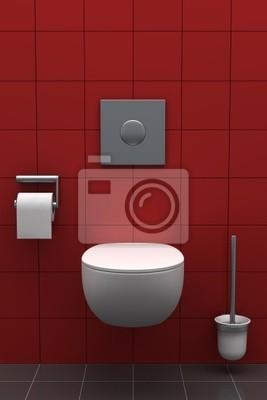 Fototapete: Moderne toilette mit roten fliesen an der wand