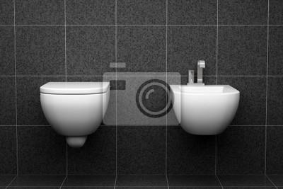 Moderne toilette mit schwarzen fliesen an der wand fototapete ...