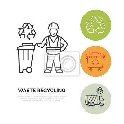 Moderne vektor-line-symbol der abfall-sortierung, recycling ...
