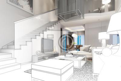 Fototapete: Moderne villa interior (zeichnung)