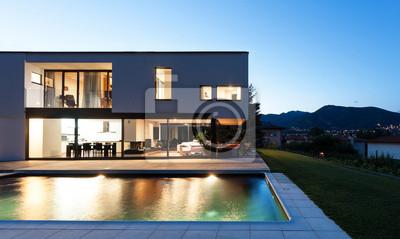Moderne villa nachtaufnahme blick vom pool fototapete