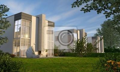 Moderne Villen Mit Glasfassade Fototapete Fototapeten Siedlung