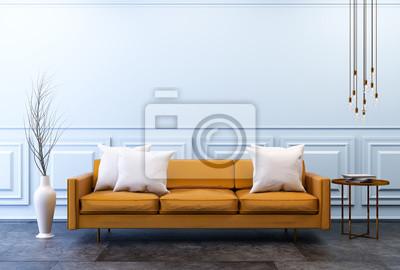 Fototapete: Moderne vintage-interieur mit kopie raum wand, wohnzimmer,  braunes