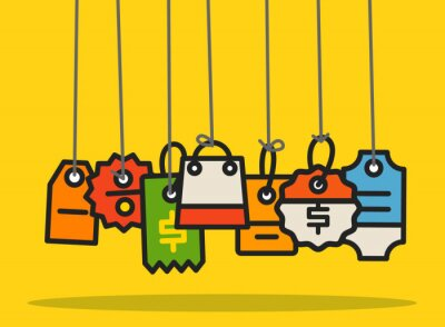 Moderne Web-Commerce-Tags Sammlung. Flaches Design Shopping concep