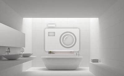 Fototapete Moderne Weiße Badezimmer Innenraum Minimal Stil 3d Rendering  Image.There Sind Weiße Fliesen Mit
