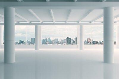 Fototapete Moderne weiße Hangar mit Blick auf die Stadt