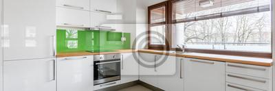 Fototapete: Moderne, weiße küche mit fenster