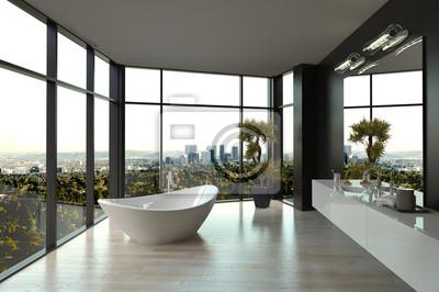 Moderne weiße luxus-badezimmer interieur fototapete ...