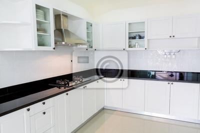 Fototapete: Moderne weiße saubere küche interieur