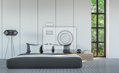 Fototapete Moderne Weiße Schlafzimmer Minimal Stil 3D Rendering Image.White  Leere Wand Mit