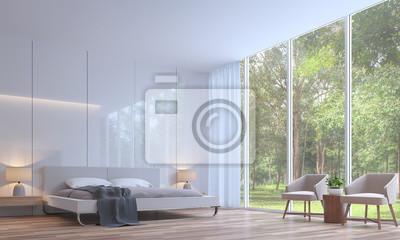 Fototapete Moderne Weisse Schlafzimmer Minimalistischen Stil 3d Rendering